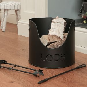 Country Fire Log Bucket with Poker and Tongs 01