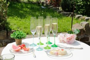 Set of 6 Botanical Champagne Flutes