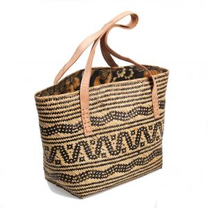 Rattan Bag Medium with Batik Lining